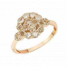 Кольцо в красном золоте Аурелия с прозрачным топазом и бриллиантами