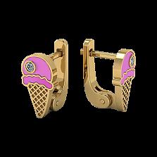 Детские золотые сережки Мороженое с эмалью и лейкосапфирами