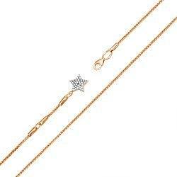 Золотой браслет на ногу в комбинированном цвете с фианитами 000119261