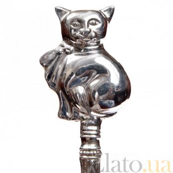Серебряная погремушка Котик 1522