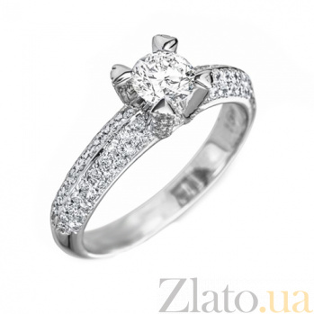 Кольцо в белом золоте Алевтина с бриллиантами 000079345