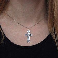 Серебряный крест Царь Славы с чернением