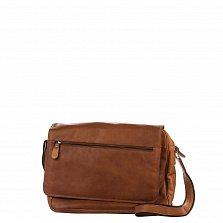 Кожаная мужская сумка HILL BURRY 870545 коричневого цвета на молнии под клапаном