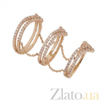 Золотое кольцо в красном цвете с фианитами Джамала TNG--380145