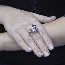 Серебряное кольцо Новогодний шик с шариками, тонированием и фактурной поверхностью