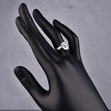 Серебряное кольцо Мартиника с фианитами и черной эмалью в стиле Булгари