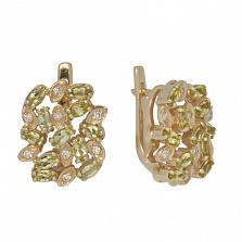 Золотые серьги с хризолитами и бриллиантами Корайн