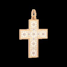 Детский золотой декоративный крестик Алатырь с белой эмалью и бриллиантами