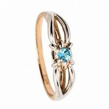 Золотое кольцо с голубым топазом Ребекка