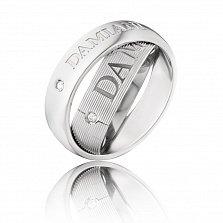 Золотое двойное кольцо-антистресс Damiani в белом цвете с бриллиантами и гравировкой