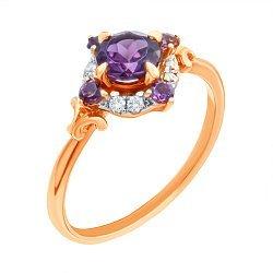 Золотое кольцо в комбинированном цвете с родолитами и бриллиантами 000139375