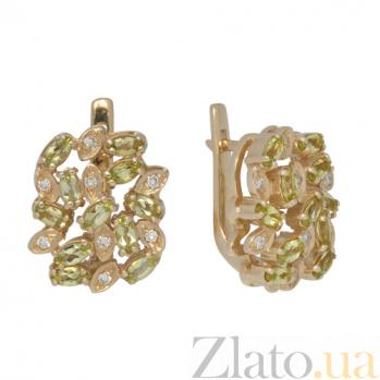 Золотые серьги с хризолитами и бриллиантами Корайн PTL--1с104/52