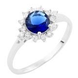 Серебряное кольцо Людвика с синтезированным сапфиром и фианитами