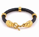 Кожаный браслет Wolf Gold с позолоченной серебряной застежкой