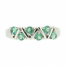 Серебряное кольцо с изумрудами Иоланта