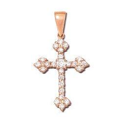 Декоративный крестик из красного золота с кристаллами Swarovski 000133534