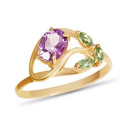 Золотое кольцо Майский цветок с синтезированными аметистом и изумрудами