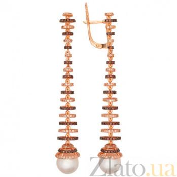 Серьги из красного золота с жемчугом и фианитами Дора VLT--ТТ2338-2