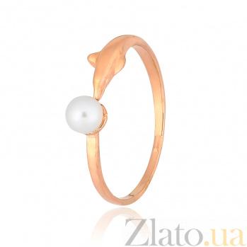 Позолоченное серебряное кольцо с жемчугом Грета 000028235