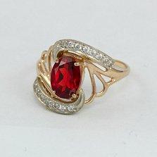 Золотое кольцо с гранатом и фианитами Вивиана