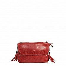 Кожаный клатч 1396 в красном цвете с декоративными кисточками и ремнем-цепочкой через плечо