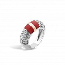 Серебряное кольцо Эмма с золотой вставкой, имитацией коралла, фианитами и родием