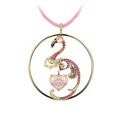Золотое колье с кварцем, сапфирами, бриллиантами и эмалью Фламинго Парадиз на шелковом шнурке 000029