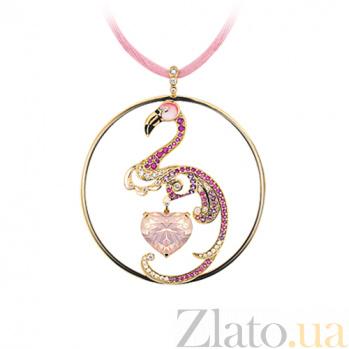 Золотое колье с кварцем, сапфирами, бриллиантами и эмалью Фламинго Парадиз на шелковом шнурке 000029507