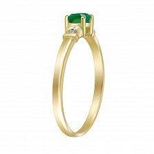 Кольцо Сахара из желтого золота с бриллиантами и изумрудом