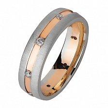 Золотое обручальное кольцо Море романтики с фианитами