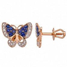 Золотые пуссеты в форме бабочки Мишель с сапфирами и бриллиантами