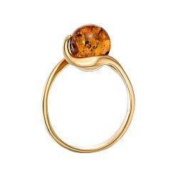 Серебряное кольцо с янтарем и позолотой 000139193