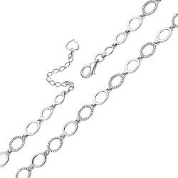 Серебряный браслет с овальными звеньями и фианитами 000119652