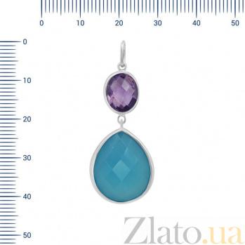 Серебряный подвес Лолита с аметистом и голубым халцедоном 000082031