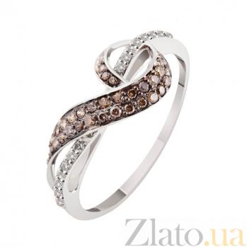 Кольцо из белого золота с бриллиантами Александра KBL--К1903/бел/коньяк