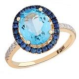 Золотое кольцо с топазами, сапфирами и бриллиантами Океания