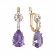 Золотые узорные серьги-подвески Магда с фиолетовыми аметистами и белыми фианитами