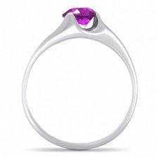 Золотое кольцо Глаз дракона в белом цвете с синтезированным аметистом