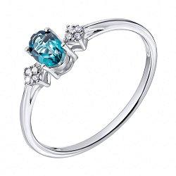 Серебряное кольцо с лондон топазом и фианитами 000135989