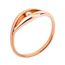Золотое кольцо Леони в красном цвете с цирконием