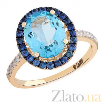 Золотое кольцо с топазами, сапфирами и бриллиантами Океания 000026928