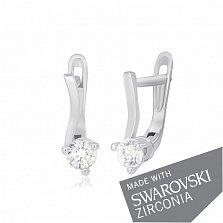 Серебряные серьги Монтана с цирконием SWAROVSKI ZIRCONIA