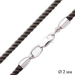 Шелковый шнурок цвета хаки Милтон с серебряной застежкой-карабином 000047072