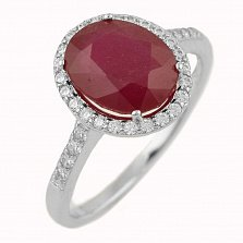 Серебряное кольцо Мириам с рубином и фианитами
