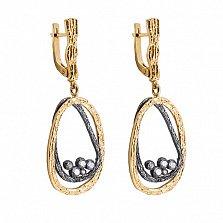 Серебряные серьги-подвески Нест в позолоте с цирконием