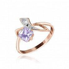 Позолоченное серебряное кольцо с фиолетовым цирконием Жаклин
