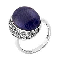 Серебряное кольцо с синим улекситом и фианитами 000099009