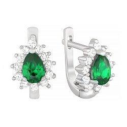 Серебряные серьги с зелеными и белыми фианитами 000029071