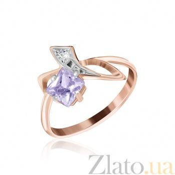 Позолоченное серебряное кольцо с фиолетовым цирконием Жаклин 000025437