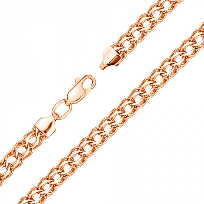 Золотой браслет Неаполь в красном цвете и плетении королевский бисмарк 000128026